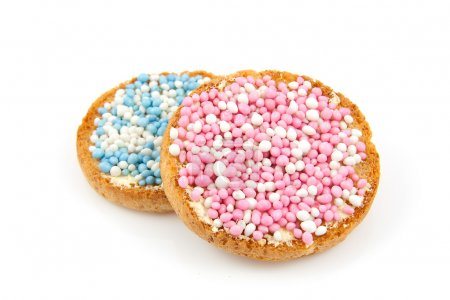 Rusk with blue and pink mice