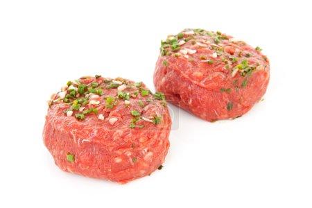 Two raw German beef steak