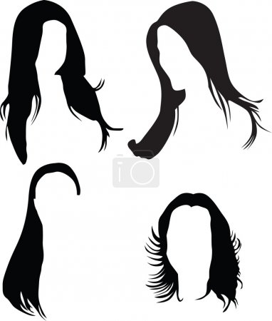 Illustration for Womens hair silhouette vector - Royalty Free Image
