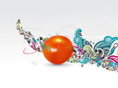 Fresh tomato woth floral wave line background vector illustration