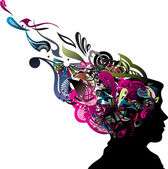 Illustration of human head silhouette with swirl floral design vector illustration