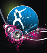 Silhouetted a young man Performer the music with music theme background Vector IllustrationNo mesh in this Vector