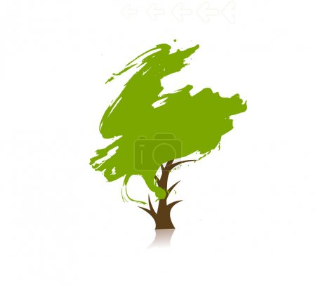 Photo pour Main dessiner arbre vectoriel vert sur fond d'eco, illustration vectorielle - image libre de droit