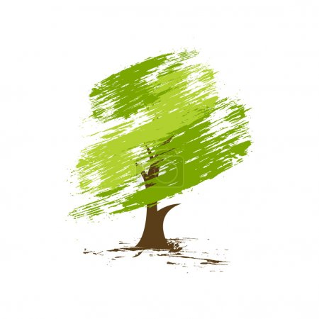 Illustration for Hand draw vector green tree on eco background, vector illustration - Royalty Free Image