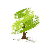 Hand draw vector green tree on eco background vector illustration