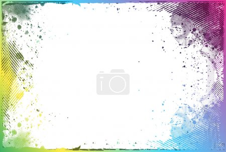 Illustration for Grunge color border with space of your text, vector illustration - Royalty Free Image