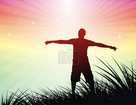 Illustration for Silhouette of young man raising his hands , vector illustration - Royalty Free Image