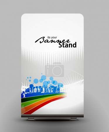 Illustration for A rolup display with stand banner template design, vector illustration. - Royalty Free Image