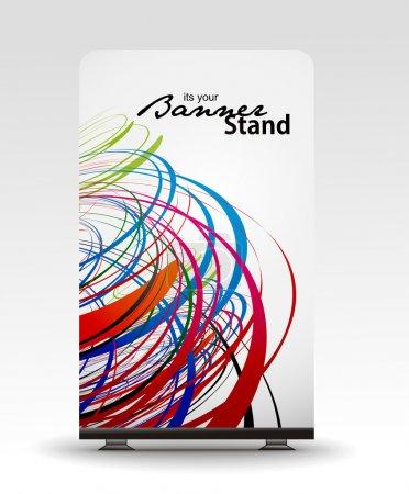 Illustration pour Un affichage de rolup avec la conception de modèle de bannière de stand, illustration vectorielle . - image libre de droit