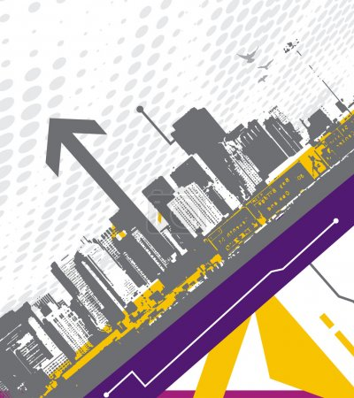 Illustration for Abstract arrow background with urban city vector - Royalty Free Image