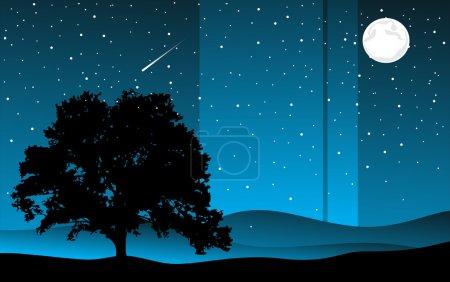 Illustration for Moonlight landscape. vector illustration - Royalty Free Image