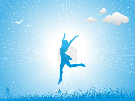 Illustration for Girl jumping against the blue sky - Royalty Free Image
