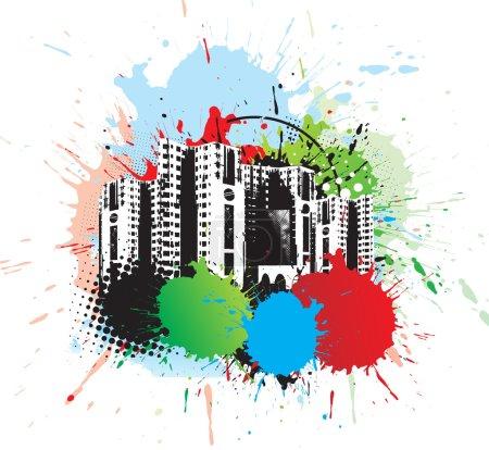 Photo pour Ville urbaine abstraite sur fond plat à l'encre arc-en-ciel, illustration vectorielle - image libre de droit