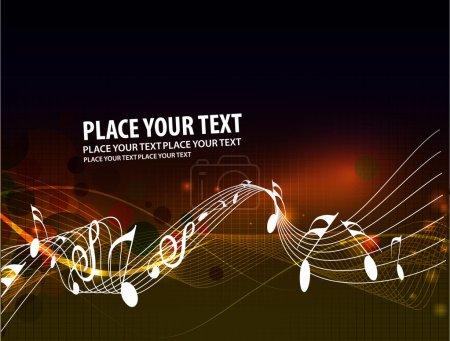 Illustration pour Notes de musique vague ligne usage conception, illustration vectorielle - image libre de droit