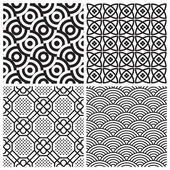 Set of 4 seamless patterns perfectly tile-able both horizontally and vertically; scalable and editable vector illustrations;