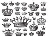 Set of antique crowns engravings scalable and editable vector illustrations