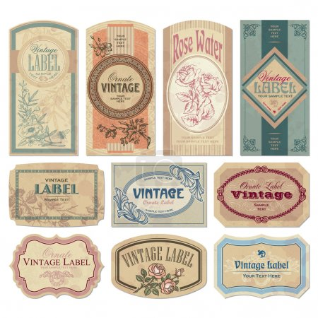 Illustration for Set of vintage labels, scalable and editable vector illustrations - Royalty Free Image