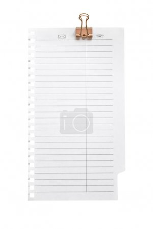 Blank note paper with clinch