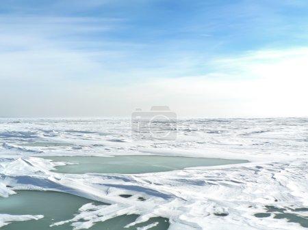 Cold winter in the polar tundra