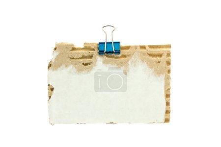 Photo pour Carton avec pince à papier métallique - image libre de droit
