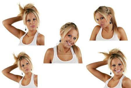 Photo pour Varoius femmes visages, jeune femme attrayante contre blanc - image libre de droit