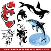 Vector set: templates Fish for tattoo and design on different topics