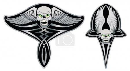 Tribal skull set for tattoo