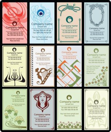 Illustration pour Variété de 12 cartes de visite verticales style vintage sur différents sujets - image libre de droit