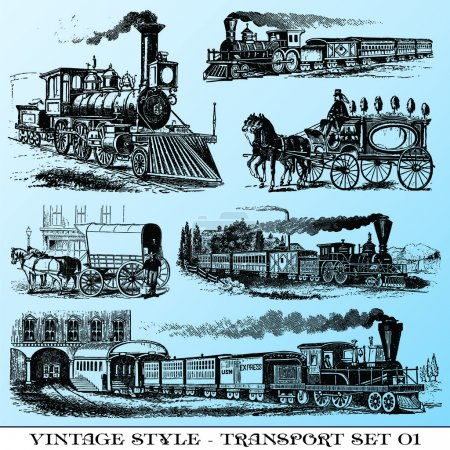Illustration for Various Vintage-style illustrations - ancient transport set - Royalty Free Image