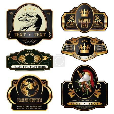 Illustration pour Étiquettes dorées sur différents sujets pour la décoration et le design - image libre de droit