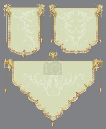 Illustration pour Ensemble vectoriel : les anciens rouleaux d'or pour une décoration festive et luxueuse - image libre de droit