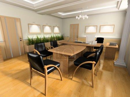 Photo pour Intérieur de bureau dans un style classique rendu 3D - image libre de droit