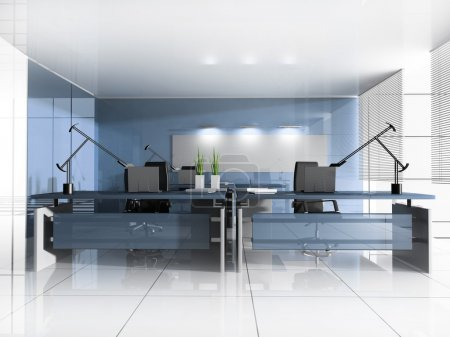 Photo for Workplace at modern office 3 d image - Royalty Free Image