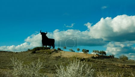 Bulls sign in a Spanish landscape