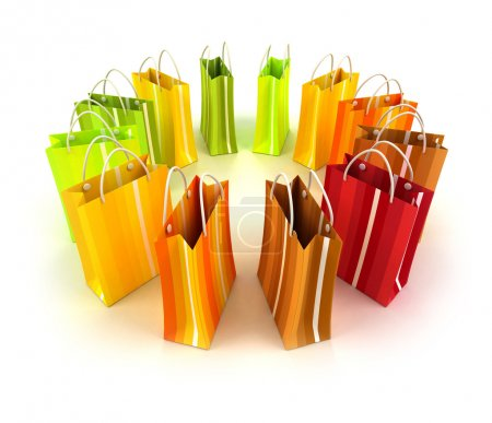 Circle of colourful shopping bags