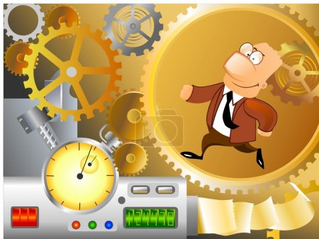 Photo for Illustration of a business man is running inside corporate machinery. - Royalty Free Image