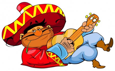 Photo for Lying mexican man in sombrero playing guitar. Isolated on white background. - Royalty Free Image