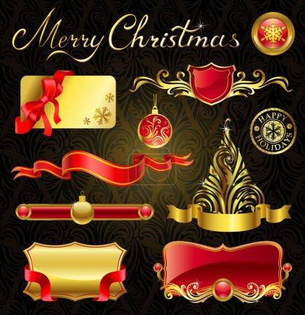 Illustration pour Éléments de design doré de Noël et magnifique inscription . - image libre de droit