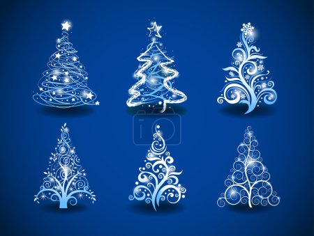 Illustration for Six modern christmas trees on a blue background. - Royalty Free Image
