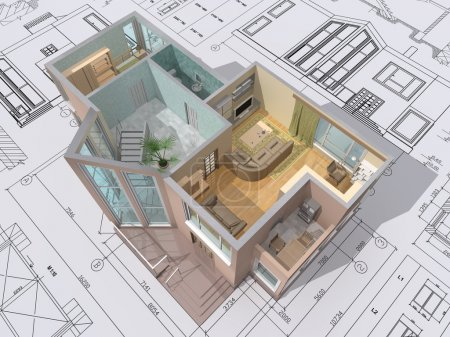 Photo for 3D isometric view of the cut residential house on architect drawing. - Royalty Free Image