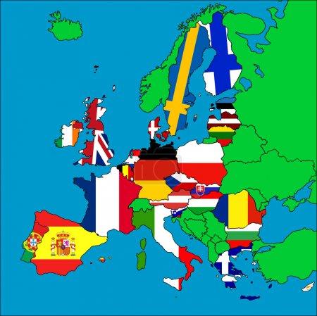 Photo pour Carte de l'Europe avec tous les pays membres de l'UE représentés par leurs drapeaux . - image libre de droit