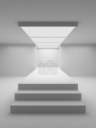 Photo for Empty white hall with a podium for fashion display - Royalty Free Image