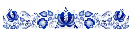Illustration for Russian ornaments in gzhel style. Gzhel (a brand of Russian ceramics, painted with blue on white) - Royalty Free Image