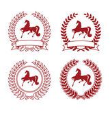 Collection of four arms Coat of Arms consists of a wreath and the silhouette of a horse They are located on a white background