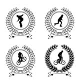 Four emblem depicting athletes Coat of Arms consists of a wreath and the silhouette of an athlete They are located on a white background