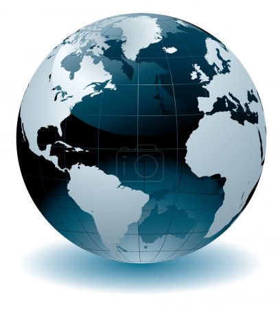 Photo for World globe editable vector illustration. Map rendered using data supplied courtesy of the University Libraries, The University of Texas at Austin. - Royalty Free Image