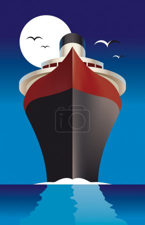 Illustration for Vector illustration of a cruise liner - Royalty Free Image