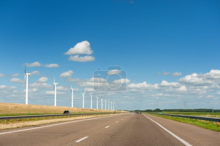 Wind turbines in agriculture landscape