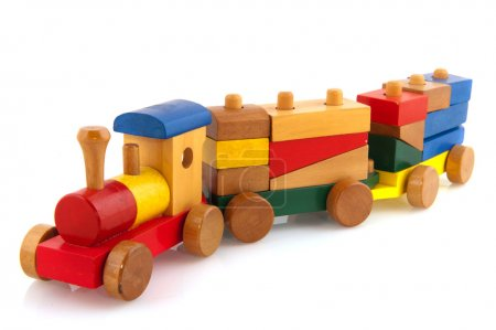 Photo for Wooden toy train with colorful blocs isolated over white - Royalty Free Image