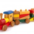 Wooden toy train with colorful blocs isolated over...